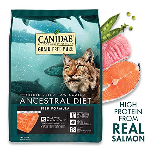 CANIDAE Grain Free Pure Ancestral Diet, High Protein Freeze-Dried Raw Coated Dry Cat Food