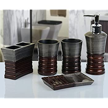 Yiyida Retro Bathroom Set Classical Resin Bath Home Accessory Set Gravel Design Tumbler Soap dish Soap Dispenser Toothbrush holder
