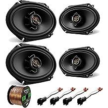 "2 Pair Car Speaker Combo Of 4x Kenwood KFCC6866S 6x8"" 250 Watt 2-Way Stereo Coaxial Speaker Bundle With 2x Metra 72-5600 Speaker Connector for Ford Vehicles + Enrock 50ft 16g Speaker Wire"