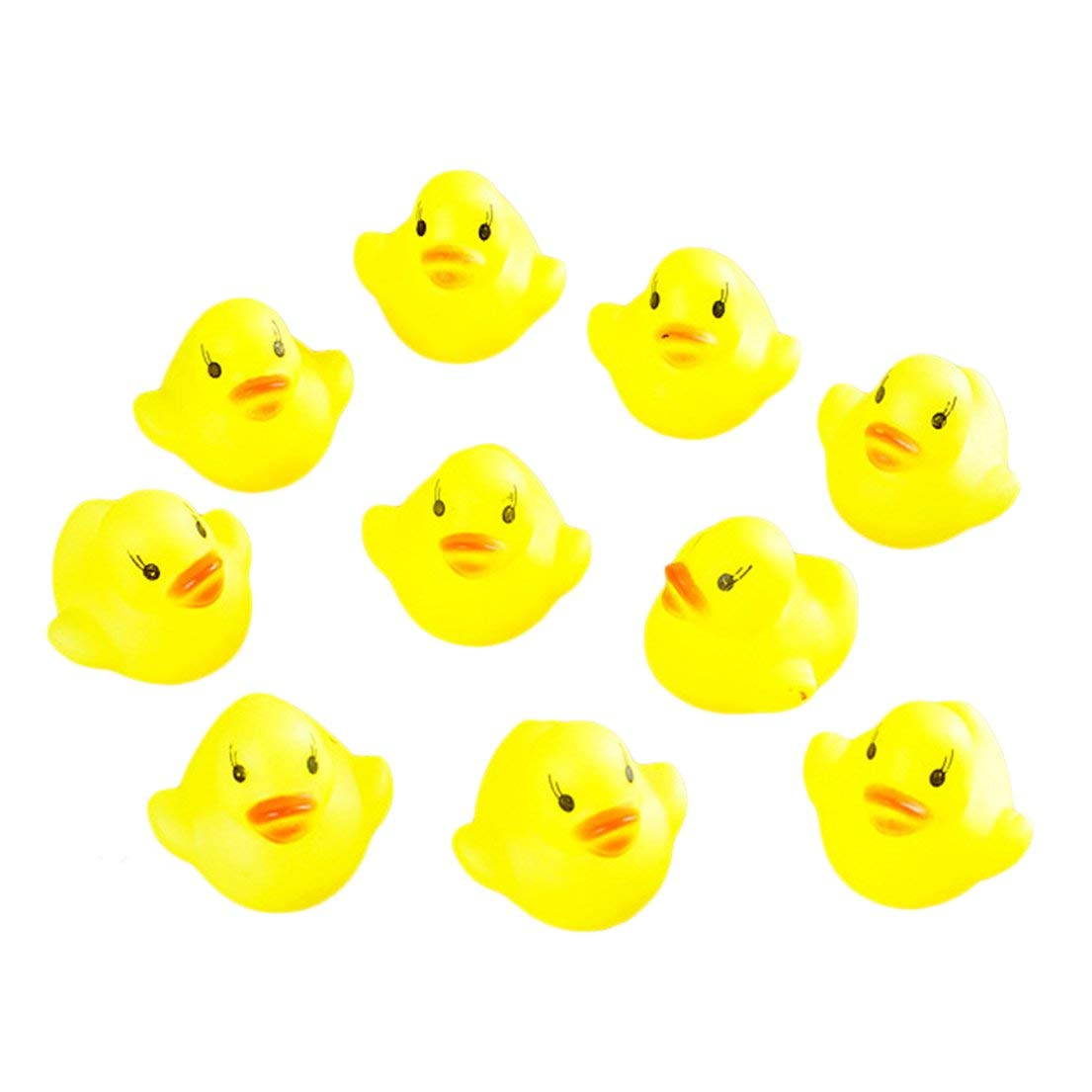 10pcs Baby Bathing Bath Tub Toys Mini Rubber Squeaky Float Duck Yellow ND