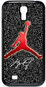 Air Jordan Samsung Galaxy S4 I9500 Hard Plastic Protector Cover Case Michael Jordan Logo Gift Idea-black&white
