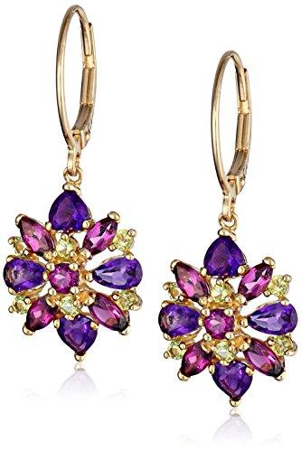 18k Yellow Gold Plated Sterling Silver Genuine Multi Gemstone Flower Leverback Earrings Handcrafted Garnet Love Earrings