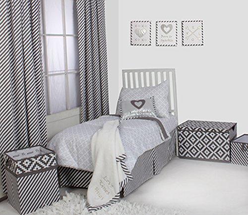 Bacati Love/Hearts Unisex Muslin 4 Piece Toddler Bedding Set