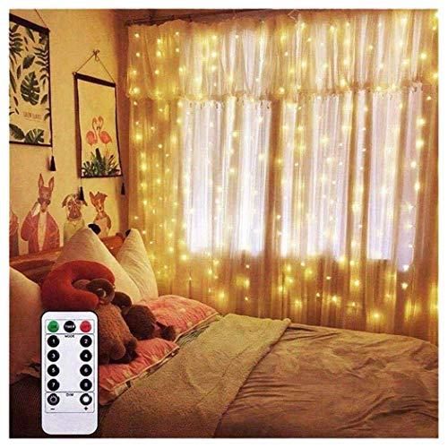 AMARS Curtain String Lights, Battery Operated, 6.5 Feet Warm White LED Fairy Lights with Remote Controller Timer for Bedroom, Party, Camping, Indoor, Outdoor (Dimmable, 8 Modes) (Outdoor Timer Battery Operated With Indoor Led Lights)