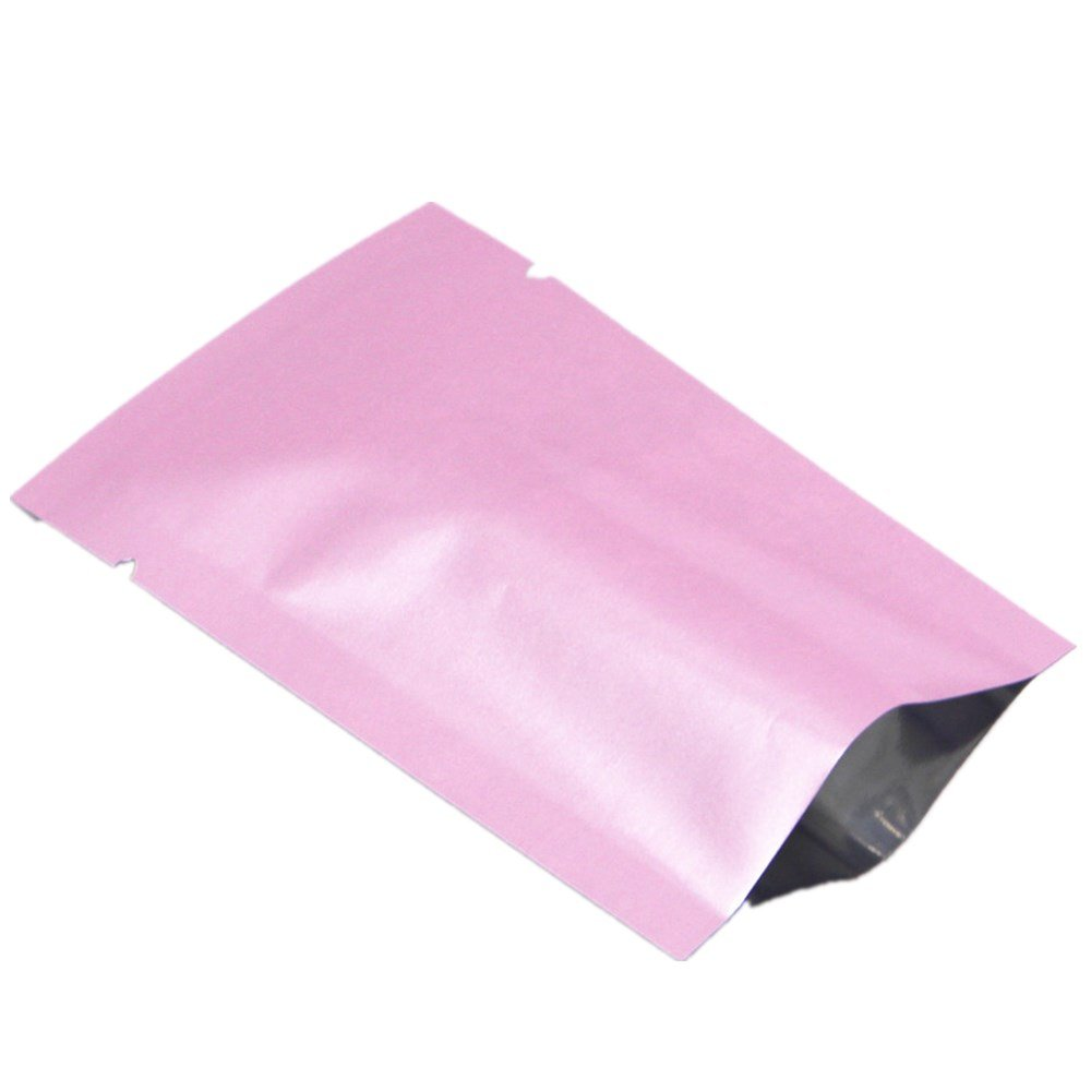Mylar Foil Heat Sealable Pouch Bags Vacuum Sealer Aluminum Foil Smell Proof Packaging Safety Food Storage Aluminizing Candy Foil Wrappers Confectionery Foil Tea Pack with Tear Notch (Pink, 300)