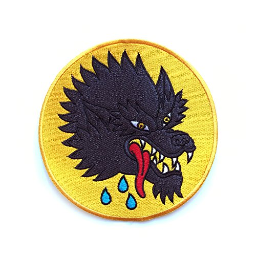 Scary Tattoo Wolf  5quot Round Embroidered Patch  Perfect to sew onto Jackets Tote Bags Backpacks and More