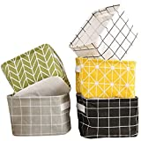 Uoobeetryy 5 Pack Foldable Storage Basket with Handle Cotton Linen Blend storage box for Nursery, Makeup, Book, Baby Toy