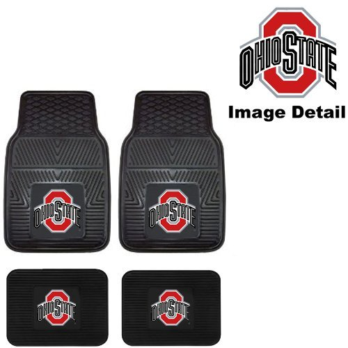 (OSU Ohio State University Buckeyes Front & Rear Car Truck SUV Vinyl Car Floor Mats - 4PC)