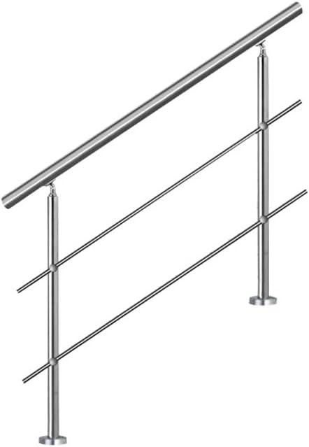 MCTECH® 150 cm Barandilla para barandilla de acero inoxidable para barandilla 2 travesaños para escaleras, balcón, barandilla