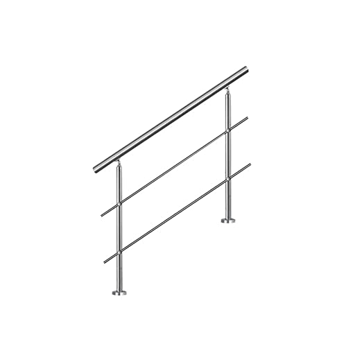 MCTECH® 120 cm Barandilla para barandilla de acero inoxidable para barandilla 2 travesaños para escaleras, balcón, barandilla