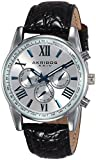 Akribos XXIV Men's AK864SS Two Time Zone Silver Tone and Black Leather Strap Watch