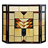 Cheap 26″ H Mission Style Stained Glass Fireplace Screen