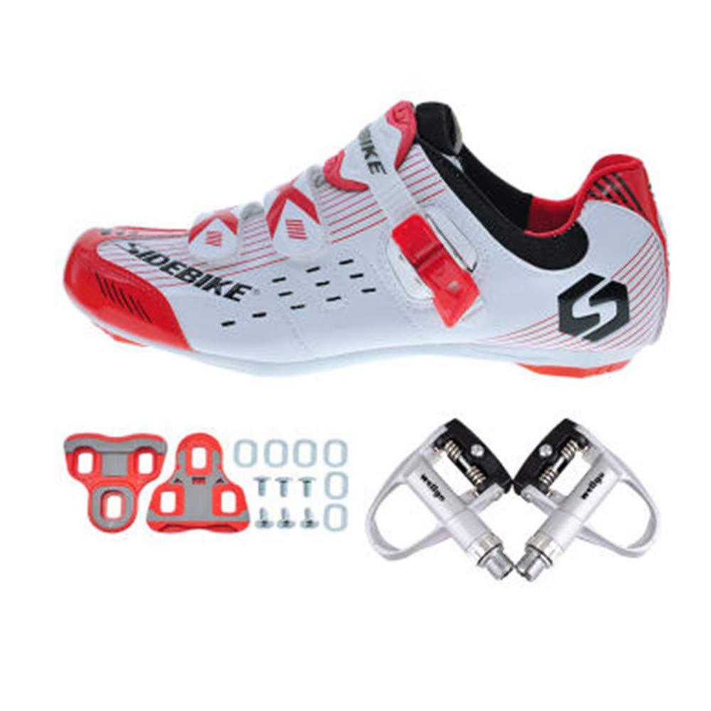 SIDEBIKE Chaussures de Cyclisme avec Pédale & Fixation, Chaussures de Cyclisme sur Route pour Adultes, Chaussures Respirantes en Nylon Résistant au Vent et Cuir Synthétique