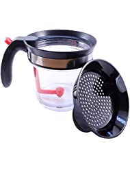 Key Kitchenware Fat Separator and Gravy Oil Separator- 4 Cup Capacity Heat Resistant Body with Strainer and Bottom Release - Measuring Lines for Cooking