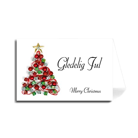 Merry Christmas In Cursive.Amazon Com Norwegian Merry Christmas Greeting Card
