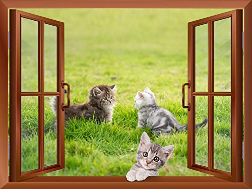 Three Little Kittens Playing on the Grass outside of an Open Window Removable Wall Sticker Wall Mural