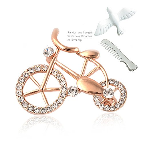 Bike Brooch Pin (GHRMB Women's Bicycle Brooches Pin Clear Crystal Gold Color Small Model Bike Ornament Pin Scarf Hat Suit clothes Sweater Breastpin Lapel Pin White dove Brooch Pin Jewelry Series Corsage Accessory)