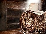 Leowefowa Vinyl 9X6FT West Cowboy Backdrop Straw White Hat Hemp Rope Horseshoe Shabby Stripes Wood Board Photography Background Kids Adultls Photo Studio Props