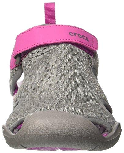 Crocs Swiftwater Mesh, Sandalias Flip-Flop para Mujer Grigio (Smoke)