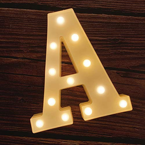 MUMUXI LED Marquee Letter Lights 26 Alphabet Light Up Marquee Number Letters Sign for Wedding Birthday Party Battery Powered Christmas Lamp Night Light Home Bar Decoration (A) (Metal Letters Lighted)