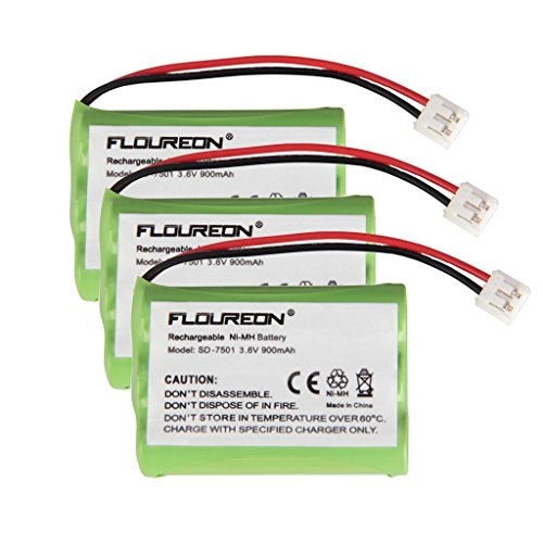 Floureon 3 Packs Rechargeable Cordless Phone Battery for V-Tech 89-1323-00-00 Model 27910 Telephone Replacement Pack ()
