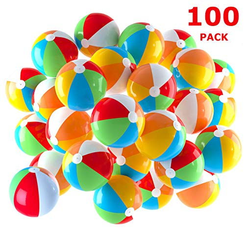 Inflatable Beach Balls 5 inch for The Pool, Beach, Summer Parties, Gifts and Decorations | 100 Pack Mini Blow up Rainbow Color Beach Balls (100 Balls)