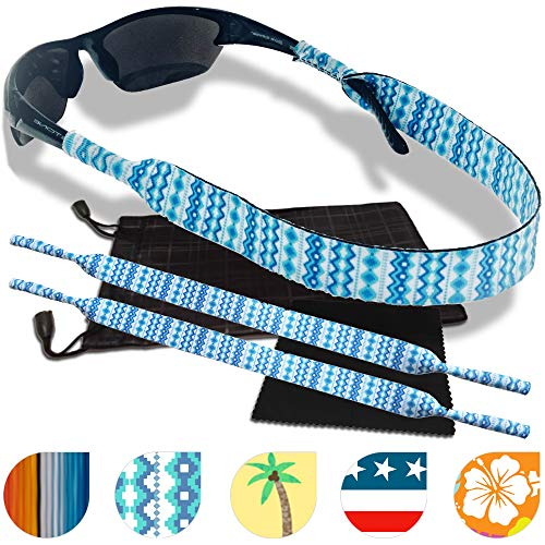 Sunglass and Glasses Safety Strap - 2 Pack with Bonus Pouch and Cleaning Cloth (Frosty (Neoprene Eyewear Retainer)