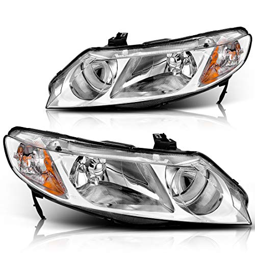 For 2006 2007 2008 2009 2010 2011 Honda Civic Sedan 4-Door Headlight Assembly Headlamp Replacement, Chrome Housing Amber Reflector