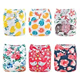 ALVABABY Cloth Diaper Pocket Reuseable Washable Adjustable Baby Girls Floral Nappies 6 PCS + 12 Inserts 6DM63