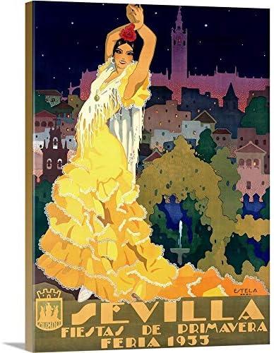 1933 Sevilla Fiesta Vintage Advertising Poster Canvas Wall Art Print
