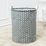 Dreamyth Laundry Basket Foldable Clothes Basket Large Canvas 40 35cm Laundry Hamper Collapsible Storage Box (C)
