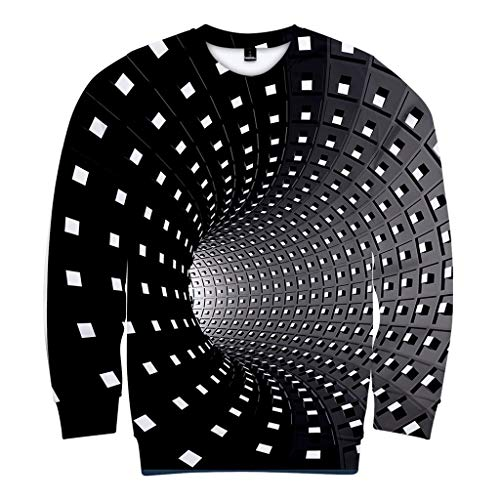 LUCAMORE Men's 3D Printed Creative Round Neck Art Shirts Top Blouse Sweatshirt Hooded Pullover