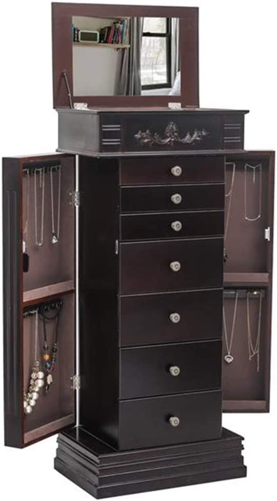 FHSGG Jewelry Armoire Chest Cabinet Organizer, Wooden Bedroom Furniture 12 Necklace Hooks Swing Door Makeup Storage Drawer Stand, Large Standing with 7 Drawers Jewelry Box