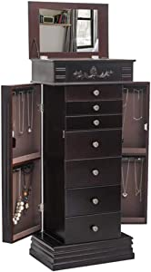 Jewelry Armoire Chest Cabinet Organizer, Wooden Bedroom Furniture 12 Necklace Hooks Swing Door Makeup Storage Drawer Stand, Large Standing with 7 Drawers Jewelry Box
