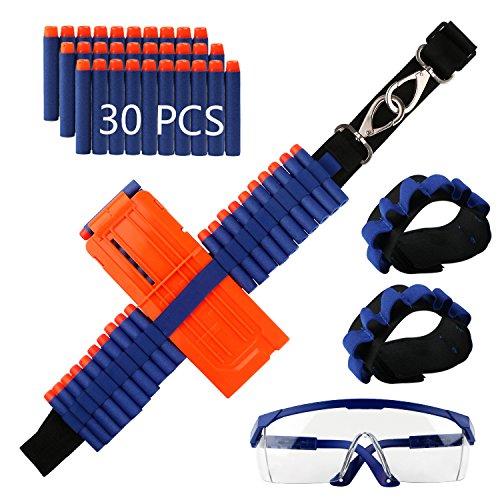 Bright Sport Nerf Darts Nerf Belt Kit for N-Strike Elite Nerf with 30 Pieces Foam Darts,1 Belt Shoulder Strap,1 Clip Charger Darts,1 Safety Glasses,2Hand Wrist Bands by Bright Sport