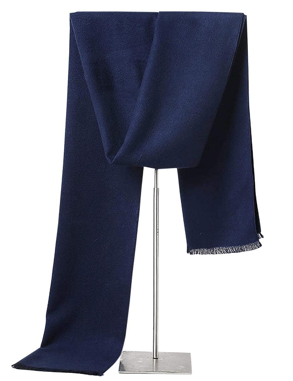 KAMA BRIDAL Men's Winter Scarf Long Plaid Cashmere Stripes Warm Soft Scarves ZHN-114792-Black