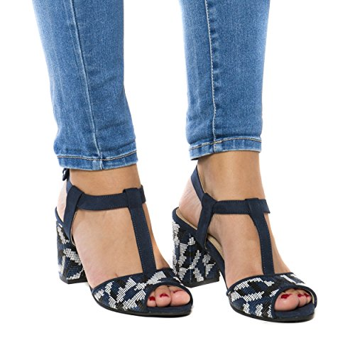 Microfiber Kamila Breathable Sandals Women Blue Ecological and Made Heeled Vegan Allergy nae of Anti B1Axq44