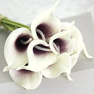 SMYLLS Calla Lily Bridal Wedding Bouquets with Latex-Look Like Real,Eco-friendly Odourless Artificial Flowers Christmas Home Decoration(12, Purple & White) 2
