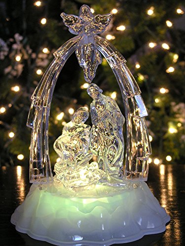 Angel Christmas Figure (Lighted LED Nativity Scene with Angel Christmas Table Top Nativity Holy Family)