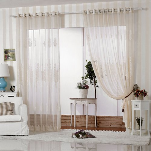 R.LANG Solid Grommet Top European Style Jacquard sheer Curtain 1 Pair Beige 66″W X 90″ L For Sale