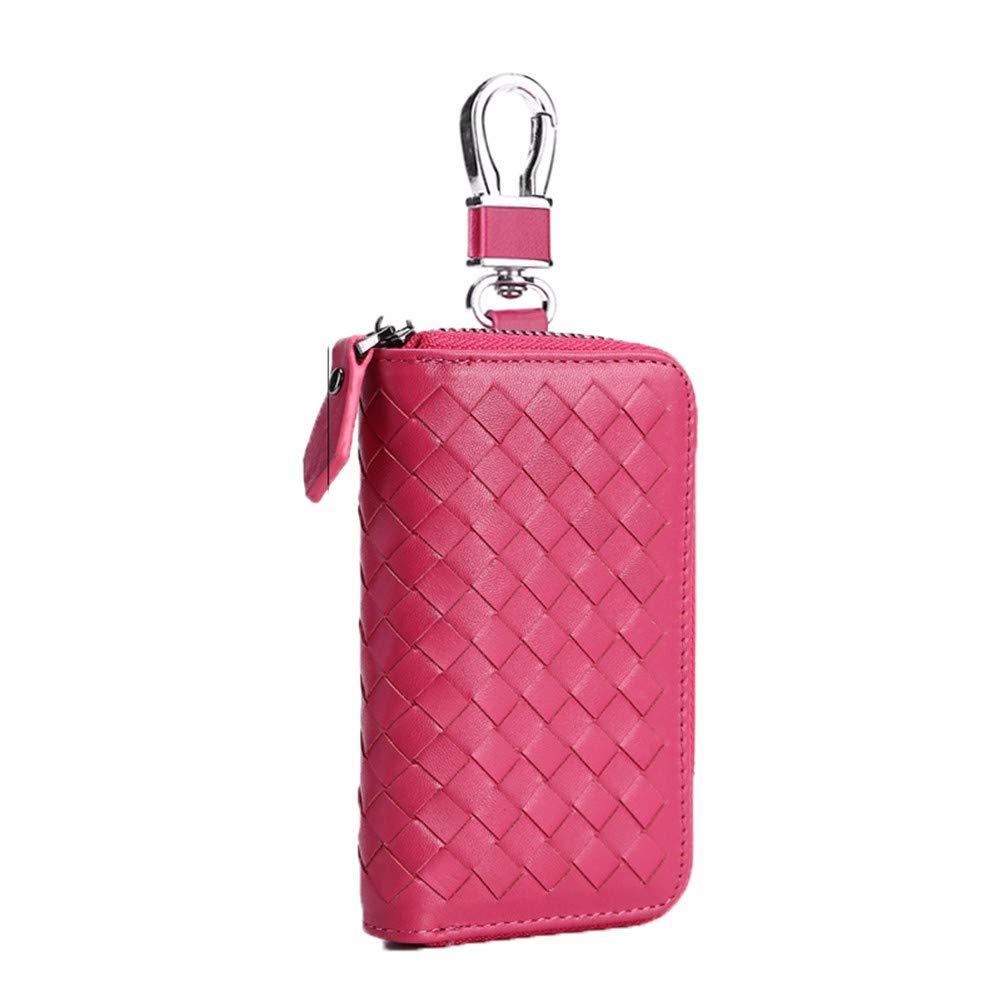 Hembra Carteras Paquete De Tarjetas Monedero Ocio Moda Suave Resistente Al Desgaste Cartera Tejida De Cuero Rojo Rosa Bolsa De Gran Capacidad 6,5 * 2,5 * 12 ...