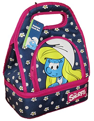 the-smurfs-loungefly-insulated-lunch-bag-box-zip-closure-smurfette-blue-purple-flower
