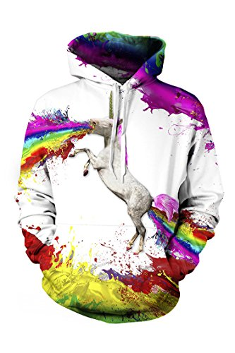 Cutiefox Womens Fashion Multicolor Horse Printed Pullover Hoodie White S