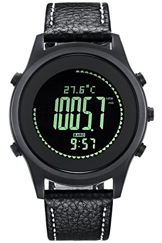 Sports Watch Compass Altimeter Barometer Pedometer Ultra Thin Digital Watches for Mens Women ()