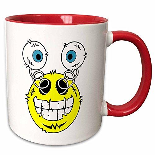 3dRose Mark Grace WEIRDO ART - freakin emoticons - freakin emoticon image, a big smile with eyes popping out, weirdo art - 11oz Two-Tone Red Mug (mug_173493_5)