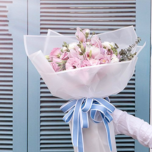 Frosted Flower Wrapping Paper White Lines Gift Packaging Florist