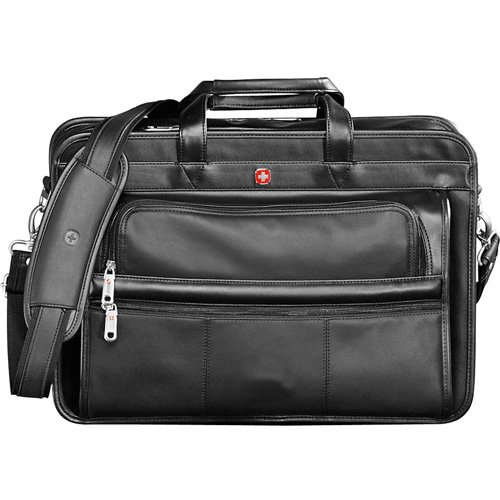 Wenger® Leather Double Compartment 15'' Computer Briefcase - BLACK by Wenger