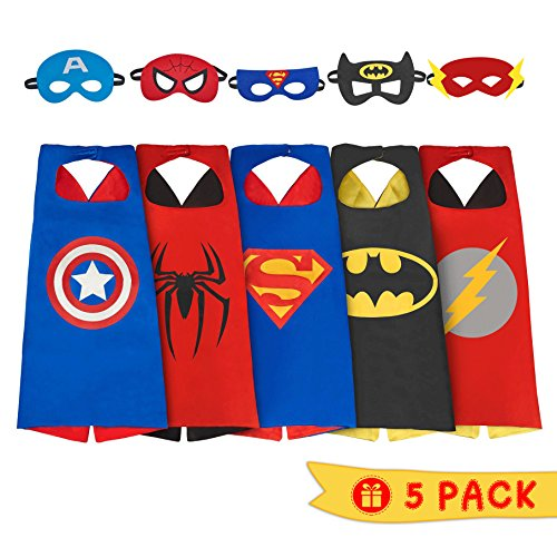 iGearPro Cartoon Dress up Costumes Satin Capes Set with Felt Masks for Boys