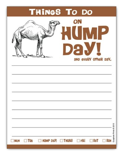 Things To Do on Hump Day, Funny Camel Notepad Gift Idea 4.25 x 5.5, 50 Sheets