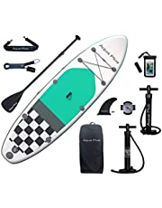 Aqua Plus 10ft6inx33inx6in Inflatable SUP for All Skill Levels Stand Up Paddle Board, Adjustable Paddle,Double Action Pump,ISUP Backpack, Leash, Shoulder Strap,Youth Inflatable Paddle Board
